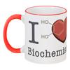 """Кружка с цветной ручкой и ободком """"I love biochemistry"""" - любовь, английский, биохимия, biochemistry, дофамин"""