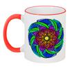 """Кружка с цветной ручкой и ободком """"Яркий цветок в индийском стиле"""" - цветы, мандала, индия, этнический, мехенди"""