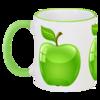 """Кружка с цветной ручкой и ободком """"Зеленое яблоко"""" - арт, в подарок, оригинально, креативно"""