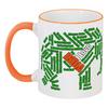 """Кружка с цветной ручкой и ободком """"Я люблю Индию (зелено-оранжево-белый слон)"""" - подарок, слова, символ, путешествия, индия"""