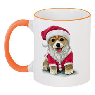 """Кружка с цветной ручкой и ободком """"Новогодняя корги"""" - новый год, собака, пёсик, корги, год собаки"""