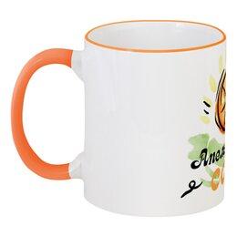 """Кружка с цветной ручкой и ободком """"Апельсиновый сок"""" - еда, фрукты, рисунок, апельсин, сок"""