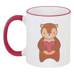 """Кружка с цветной ручкой и ободком """"Медвежонок"""" - сердечко, сердце, медведь, мишка, медвежонок"""