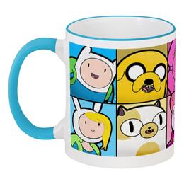 """Кружка с цветной ручкой и ободком """"Adventure Time"""" - adventure time, джейк, финн"""