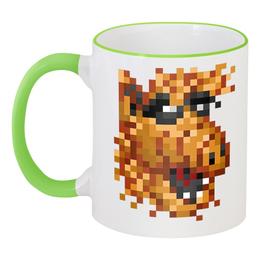 """Кружка с цветной ручкой и ободком """"Любитель кошек"""" - alf, альф, pixel, пиксель арт, pixel art, пиксель-арт, pixelart"""