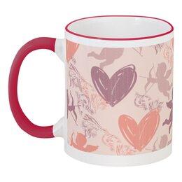 """Кружка с цветной ручкой и ободком """"Купидон и сердечки"""" - любовь, день святого валентина, сердечки, купидон, день влюблённых"""