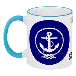 """Кружка с цветной ручкой и ободком """"Морской разведчик"""" - море, якорь, канат, разведчик"""