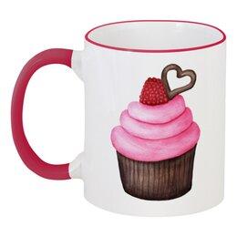 """Кружка с цветной ручкой и ободком """"Акварельный кекс"""" - арт, ягода, кекс, акварель, пирожное"""