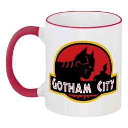 """Кружка с цветной ручкой и ободком """"Бетмэн (Batman)"""" - batman, бетмэн, gotham city, дс"""