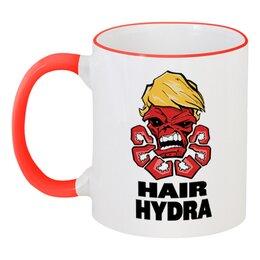 """Кружка с цветной ручкой и ободком """"Hydra"""" - гидра, череп, трамп, hydra"""