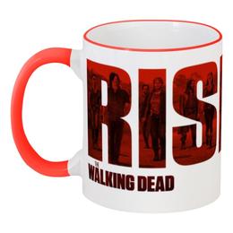 """Кружка с цветной ручкой и ободком """"Ходячие мертвецы / The Walking Dead"""" - комикс, рисунок, кино, сериал, зомби"""