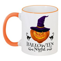 """Кружка с цветной ручкой и ободком """"Хэллоуин"""" - хэллоуин, тыква, кошка"""