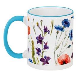 """Кружка с цветной ручкой и ободком """"Полевые цветы"""" - красиво, цветы, природа, полевые цветы"""