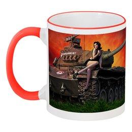 """Кружка с цветной ручкой и ободком """"world of tanks"""" - игра, танки, word of tanks"""