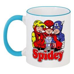 """Кружка с цветной ручкой и ободком """"Spidey"""" - человек паук, железный человек, капитан америка"""
