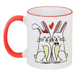 """Кружка с цветной ручкой и ободком """"Влюблённые  кролики"""" - любовь, сердца, день святого валентина, пара, кролики"""