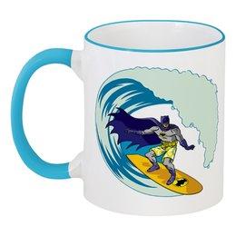 """Кружка с цветной ручкой и ободком """"Бэтмен (Batman)"""" - лето, море, batman, волны, сёрфинг"""