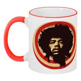 "Кружка с цветной ручкой и ободком ""Jimi Hendrix"" - рок, jimi hendrix, психоделический рок, джими хендрикс"
