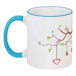 """Кружка с цветной ручкой и ободком """"На ветке"""" - любовь, 14 февраля, птицы, пары"""