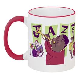 """Кружка с цветной ручкой и ободком """"Джаз."""" - музыка, джаз"""