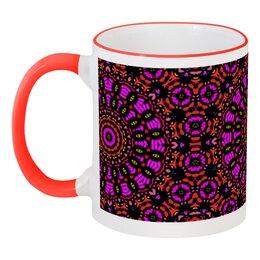 """Кружка с цветной ручкой и ободком """"purple"""" - арт, узор, фиолетовый, абстракция, фигуры"""