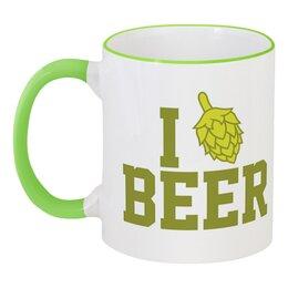 """Кружка с цветной ручкой и ободком """"Я люблю пиво"""" - пиво, beer, я люблю пиво, i love beer"""
