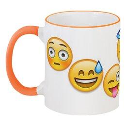 """Кружка с цветной ручкой и ободком """"emoji"""" - арт, вк, смайлы, emoji"""