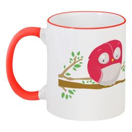 """Кружка с цветной ручкой и ободком """"Совенок цвета фуксии. Нет чая, нет работы"""" - арт, юмор, надпись, работа, в подарок, сова, птенец, совенок, коллеге, ветка"""