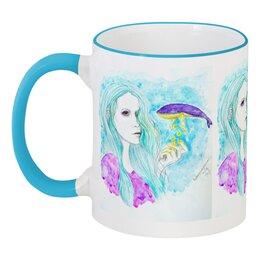 """Кружка с цветной ручкой и ободком """"Ловец звезд"""" - девушка, звезды, фиолетовый, кит, мятный"""