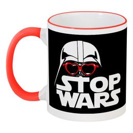 """Кружка с цветной ручкой и ободком """"Дарт Вейдер (Звёздные войны)"""" - звёздные войны, дарт вейдер, star wars, stop wars"""
