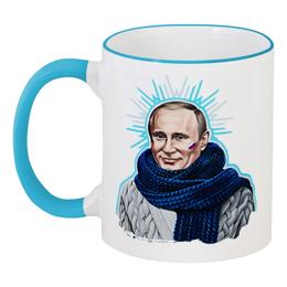 """Кружка с цветной ручкой и ободком """"Путин в шарфе"""" - happy new year, царь, новый год, москва, владимир, россия, 2014, патриотизм, политика, рождество"""