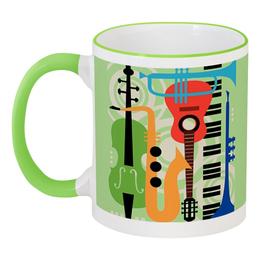 """Кружка с цветной ручкой и ободком """"Музыкальные инструменты"""" - музыка, гитара, скрипка, инструменты, саксафон"""