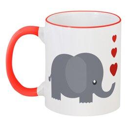 """Кружка с цветной ручкой и ободком """"Слоник"""" - слон, животное, сердечки, слоник"""