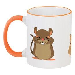 """Кружка с цветной ручкой и ободком """"Мышь (Крыса)"""" - новый год, мышь, крыса, год крысы, 2020 год"""