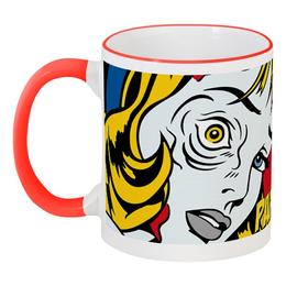 """Кружка с цветной ручкой и ободком """"MUG 4"""" - зомби, фэнтези, комикс, ужас, рок"""
