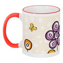 """Кружка с цветной ручкой и ободком """"Цветочная"""" - цветы, узор, рисунок, детский, цветочный"""