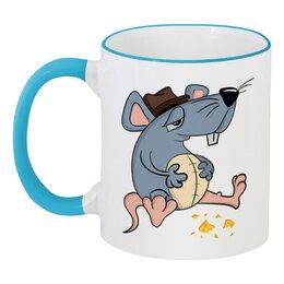 """Кружка с цветной ручкой и ободком """"Крыса"""" - новый год, сыр, крыса, год крысы, 2020 год"""