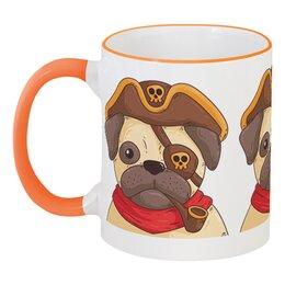 """Кружка с цветной ручкой и ободком """"Мопс-пират"""" - мопс, собака, пират, пиратский, подарочный"""