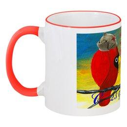 """Кружка с цветной ручкой и ободком """"У птиц 23 февраля"""" - день защитника отечества, прикольные птички, к 23 февраля моему парню, будёновка, чашка сувенир"""