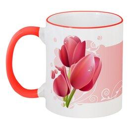 """Кружка с цветной ручкой и ободком """"С 8 марта"""" - праздник, цветы, 8 марта, женский день"""