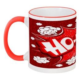 """Кружка с цветной ручкой и ободком """"Ho Ho Ho"""" - рождество, новый год, зима, красный, санта"""