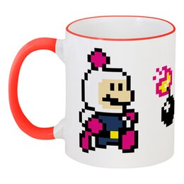 """Кружка с цветной ручкой и ободком """"Bomberman"""" - bomberman"""