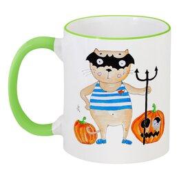 """Кружка с цветной ручкой и ободком """"А нам не страшно! """" - арт, хэллоуин, тыква, котики"""