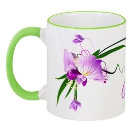 """Кружка с цветной ручкой и ободком """"Настя"""" - 8мар, 8 марта, арт, цветы, орхидея"""