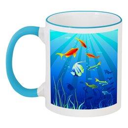 """Кружка с цветной ручкой и ободком """"Коралловые рыбки"""" - солнце, море, рыбки"""
