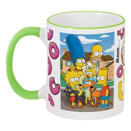 """Кружка с цветной ручкой и ободком """"The Simpsons"""" - гомер, homer, симпсоны, donuts, the simpsons"""