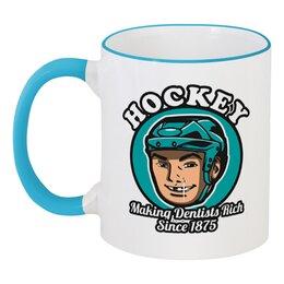 """Кружка с цветной ручкой и ободком """"Хоккей"""" - спорт, хоккей, хоккеист"""