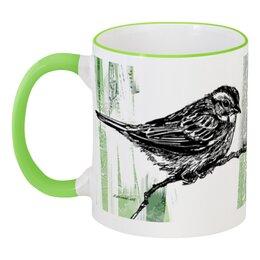 """Кружка с цветной ручкой и ободком """"Цветная чашка с птицами"""" - животные, рисунок, птицы, графика, природа"""