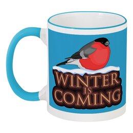 """Кружка с цветной ручкой и ободком """"Winter is coming"""" - game of thrones, игра престолов, зима близко, снегирь, новый год"""