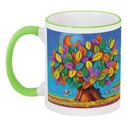 """Кружка с цветной ручкой и ободком """"Дерево Счастья iCALISTIni Глоток счастья"""" - счастье, tree, дерево счастья, icalistini"""